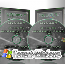 WINDOWS 7 SP1 BLACK EDITION RUSSIAN 16 VERSIONS on 2DVD ©SPA 2011 7601 SP1 x86+x64