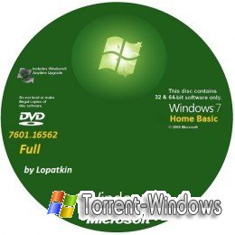 Windows 7 Home Basic SP1 v.178 x86-x64 en-RU Full, Updates 100909