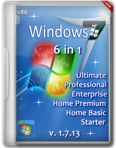 Windows 7 SP1 (x86) 6 in 1 (Ultimate/Professional/Enterprise/Home Premium/Home Basic/Starter v. 1.7.13 by Romeo1994 (2013) Русский