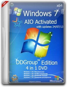 Windows 7 SP1 x64 4in1 DVD [v.24.07] DDGroup™ Edition AIO Activated (2013) Русский