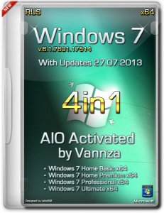 Windows 7 X64 4 in 1 AIO Activated by Vannza [2013] Русский