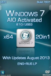 Windows 7 IE10/USB3 20in1 AIO Activated by Murphy78 (x64) [2013] Русский + Английский
