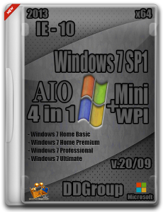Windows 7 SP1 AIO x64 4in1 DVD [v.20.09] +Mini WPI by DDGroup™ Edition (2013) Русский