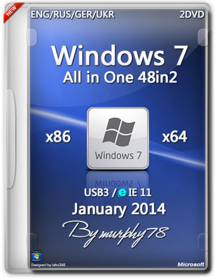 Windows 7 SP1 AIO 48in2 IE11 Jan2014 ( x86/x64) (2014) (ENG/RUS/GER/UKR) 2 DVD