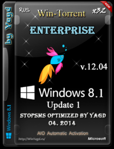 Windows 8.1 Enterprise Update 1 StopSMS DVD Optimized by Yagd v.12.04 [x32(x86)] (04.2014) [Rus]
