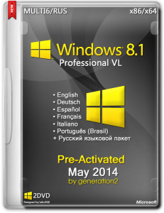 Windows 8.1 Pro VL Pre-Activated May 2014 by Generation2 (x86-x64) (2014) [MULTI6/ENG/RUS]