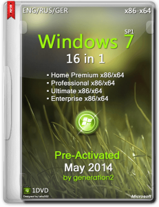 Windows 7 SP1 16in1 ESD Pre-Activated May 2014 by Generation2 (x86-x64) (2014) [ENG/RUS/GER]