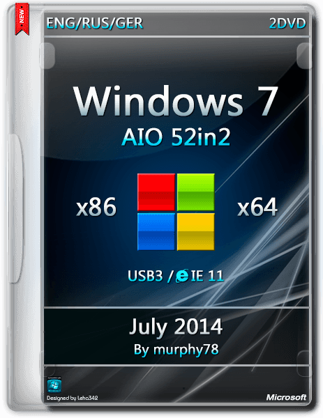 Windows 7 SP1 AIO 52in2 IE11 July 2014 (x86-x64) (2014) [DE/EN/RU]