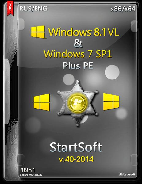 Windows 8.1 VL & 7 SP1 PE StartSoft 40 (x86 x64) (2014) [Ru/En]