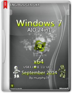 Windows 7 SP1 AIO 24in1 UEFI IE11 September v.7601 (x64) (2014) [ENG/RUS/GER/UKR]