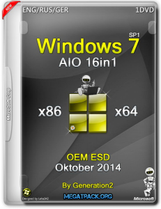 Windows 7 SP1 AIO 16in1 OEM ESD Oktober by Generation2 (x86/x64) (2014) [ENG/RUS/GER]