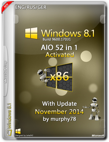Windows 8.1 AIO 52in1 With Update November by murphy78 (x86) (2014) [ENG/RUS/GER]