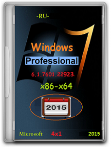 Microsoft Windows 7 Professional SP1 6.1.7601.22923 х86-х64 RU 4x1-1502 by Lopatkin (2015) Русский