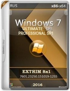Microsoft Windows 7 Ultimate-Professional SP1 7601.23250 x86-x64 RU EXTRIM 8x1 by Lopatkin (2016) RUS